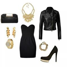#night#outfit#rockig#lady#black#gold#littleblackdress#outfit#style#fashion