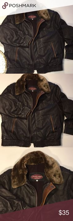 Overland Leather Jackets men's 46!!!! 3 day sale! Men's original Overland leather jacket size 46, double stitched removable collar. Won't last, check it out overland.com overland Jackets & Coats Bomber & Varsity