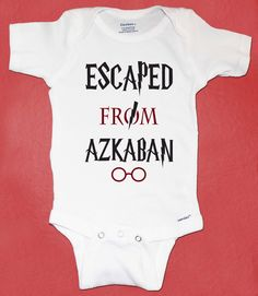 Harry Potter Inspired Onesie, Escaped From Azkaban, Harry Potter Baby Gift, Baby Shower Gift by peanutandtheowl on Etsy https://www.etsy.com/listing/212477466/harry-potter-inspired-onesie-escaped