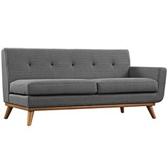 Midcentury Modern Modway Engage Mid-Century Modern Upholstered Fabric Right-Arm Loveseat In Gray