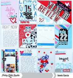 End of year review using products from the Here + There Collection from Pretty Little Studio.