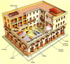 typical Roman 'insula' or apartment block newly-built in Rome's heyday, c. Ancient Roman Houses, Ancient Rome, Ancient History, Ancient Greek, Rome Architecture, Historical Architecture, Ouvrages D'art, Rome Antique, Roman History