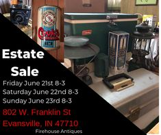 We are so excited to announce this Tagged Estate Sale! We have the honor of organizing and liquidating the family home for the Pierre and Funke estate. The Estate Sale is this weekend, Friday June 21 – Sunday June 23, 2019 8am-3pm all three days, on 802 W. Franklin Street in Evansville. This home is filled with antique furniture, local memorabilia, mid-century modern furniture, vintage quilts, and lots of advertising. One of the things we always tell our prospective estates is to leave the