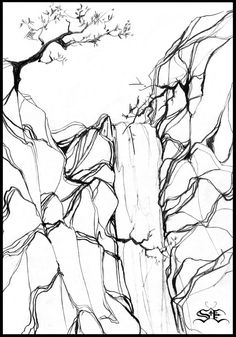 waterfall black and white drawing - Google Search