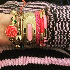 My pink right wrist today Laura Lee, Celine Daoust, Diana, Bracelets, Bangles, Aurelie Bidermann, Fifty Shades, Elsa, Fashion Accessories