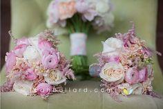 Pink Wedding Flowers - Blush Bridal Bouquet - Blush Bridesmaids - Blush Bridesmaid dresses - Pink Bouquets - Antique Lace - Antique Ribbon - Ranunculus - Garden Roses - Peonies - Peach - Pink - Blush - Ivory - www.lisafosterdesign.com