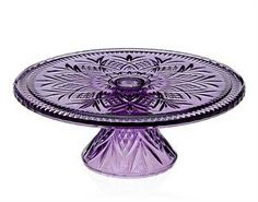 Crystal Footed Dublin Cake Stand Purple
