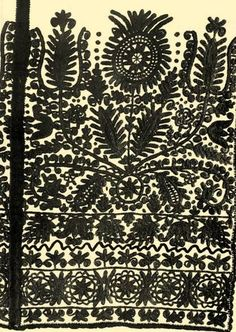 Kalatoszegi embroidery.  Embroidery to hang at the end of a bed.  Kalotaszeg region, former Kolozs County