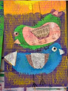 Mixed Media Stacked Birds