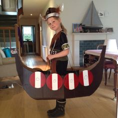 Viking longboat made from cardboard and spray paint for Viking Day at school.