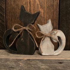 Halloween Wood Crafts, Cat Crafts, Crafts To Make, Paper Crafts, Rustic Wood Crafts, Primitive Wood Crafts, Primitive Snowmen, Primitive Stitchery, Primitive Patterns