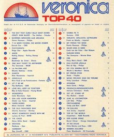 Music Charts, Top 40, Veronica, Memories, Retro, November, Van, Vintage, Musica