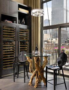Sexy urban loft with Chicago skyline views. Wine space