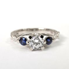 Braided Engagement Ring No.7 - Diamonds and Sapphire engagement ring,white gold diamond ring, engagement ring, celtic ring, three stone ring