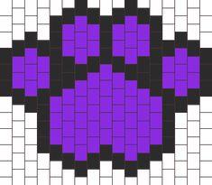 Purple Paw Print bead pattern