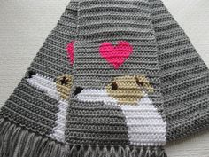 Greyhound scarf. Crochet scarf with greyhound dogs and by hooknsaw