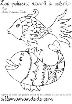 poisson d'avril à imprimer 2 Fish Coloring Page, Coloring Pages, Driftwood Fish, Fish Crafts, Rug Hooking, Animal Drawings, Diy For Kids, Sculpture Art, Techno
