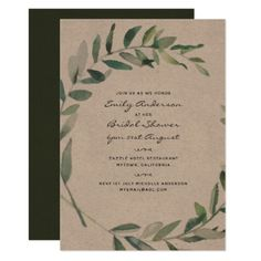 Rustic Leaves Bridal Shower Invites Kraft Olive - baby gifts child new born gift idea diy cyo special unique design