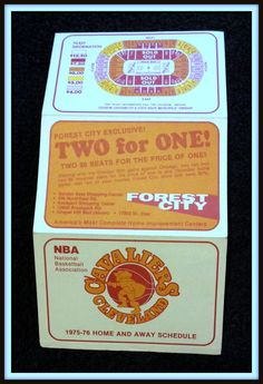 1975-76 CLEVELAND CAVALIERS FOREST CITY BASKETBALL POCKET SCHEDULE FREE SHIP #Pocket #SCHEDULE