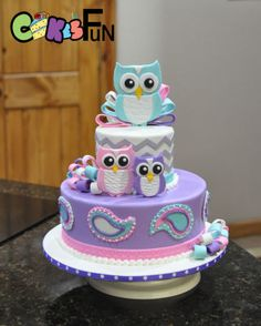 Purple, teal and pink owl baby shower cake with chevron design. momma owl with her babies as toppers along with fondant bows Fondant Baby, Fondant Cakes, Cupcake Cakes, Marshmallow Fondant, Fruit Cakes, Owl Cake Birthday, Owl Birthday Parties, Owl Cakes, Ladybug Cakes