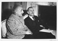 """Currier Collections Online - """"Albert Einstein and Thomas Mann at Thomas Mann's House"""" by Lotte Jacobi"""