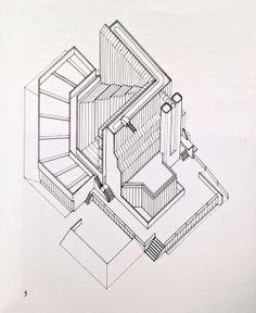 History Faculty Building, Cambridge University, Axonometric, James Stirling, 1964