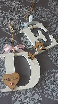 PERSONALISED Letter Initial Girl boy new baby gift CUTE SHABBY CHIC HANGING in Plaques & Signs | eBay