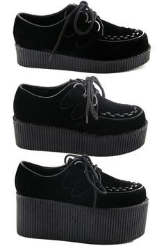 NEW WOMENS BLACK PLATFORM LACE UP LADIES FLATS CREEPERS PUNK GOTH SHOES SIZE 3-8 #EssexGlam #Creepers #Casual