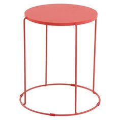 Metal Accent Patio Table Coral - Room Essentials™ : Target (NOTE: find something like this in blue) Outdoor End Tables, Patio Side Table, Outdoor Seating, Outdoor Ideas, Patio Furniture Sets, Garden Furniture, Outdoor Furniture, Arlington House, Modern Patio
