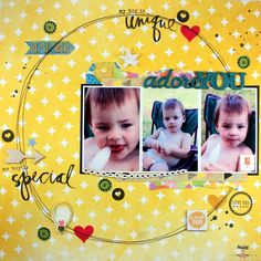 "A2Z Scraplets: May challenge scrapbook layout by Louise ""Adore You"""