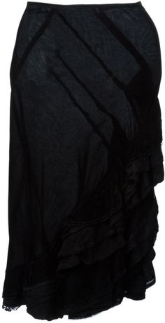 Comme Des Garçons 'Tricot Cdg' Ruffle Skirt in Black Black Ruffle Skirt, Frilly Skirt, Pencil Skirt Work, High Skirts, Comme Des Garcons, Vintage Skirt, Fashion Boutique, Vintage Ladies, Fashion Outfits