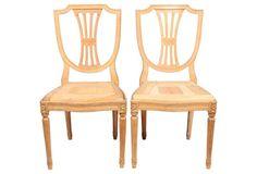English Hepplewhite-Style Chairs, Pair