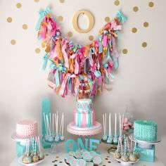 Beautiful and unique first birthday sweets table design!