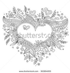 Coloring page flower heart St Valentine's day. Coloring page with details isolated on white background . Doodle zentangle pattern for relax and meditation. Black line art on white background.