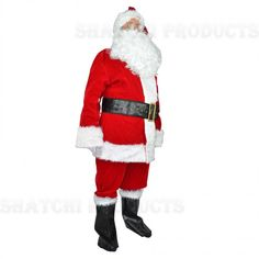 Super Deluxe One Size medium Velvet Santa Suit Complete Set. Include: lined jacked with hidden zipper front and faux fur trim, lined pants with pockets for holding candy canes, and a matching hat, White gloves, black vinyl belt with a metal buckle an Christmas Fancy Dress, Santa Costume, Santa Suits, Fancy Costumes, Metal Belt, Plus 8, Christmas Costumes, Father Christmas, White Gloves