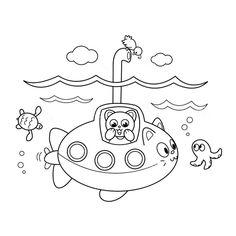 Leuk Voor Kids Kleurplaat Een Poes In Duikboot
