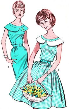 1960s Dress Pattern Butterick 9721 Day or Evening Full Skirt or Sheath Dress Large Peter Pan Collar Womens Vintage Sewing Pattern B32 Uncut