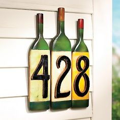 Wine Bottle House Numbers.....think I will make this a Christmas gift for my husband.