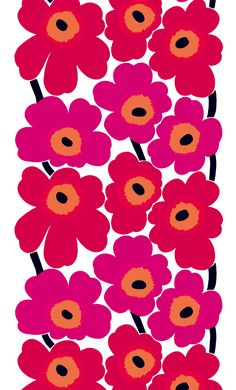 Marimekko Unikko Red Canvas Fabric The Marimekko Unikko flower fabric has red and pink flowers with orange centers and black stems. This popular Marimekko design was created by Maija Isola in This fabric can be used for upholster. Motifs Textiles, Textile Patterns, Print Patterns, Floral Patterns, 60s Patterns, Textile Pattern Design, Indian Patterns, Pattern Designs, Pattern Print