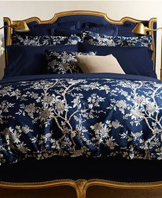 CLOSEOUT! Ralph Lauren Deauville Collection  would look cute with light pale blue or grey fabric headboard and gold accents in curtains and neutral walls