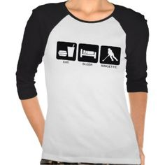 "Ringette ""Eat Sleep Ringette"" Ladies 3/4 Sleeve Tshirts"