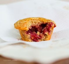 Strawberry-Lime Nutty Flax Coconut Oil Muffins. Gluten Free.