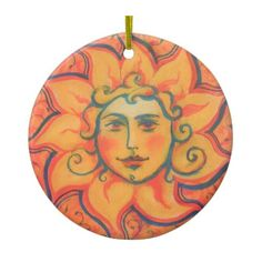 The Sun, sunface, yellow orange red, fantasy art Ceramic Ornament (61 PLN) ❤ liked on Polyvore featuring home, home decor, pastel, yellow home decor, pastel home decor, yellow home accessories and ceramic home decor
