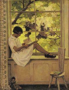 Garnet Ruskin Wolseley - Reading on the Windowsill