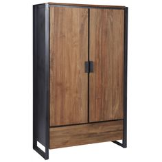 D-Bodhi Fendy Kledingkast Cabinet Furniture, Metal Furniture, Home Furniture, Wood Steel, Wood And Metal, Wood Storage Cabinets, Tall Cabinet Storage, Scandinavian Interior Design, Home Interior Design
