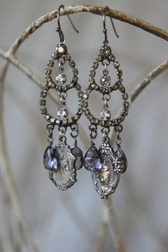 Vintage assemblage earrings religious medals crystal briolettes rhinestone assemblage jewelry- by French Feather Designs.