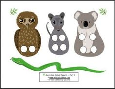 Australian Animal Puppet Play - download free printable finger puppets