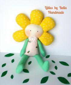 Flower girl doll textile handmade doll garden by littlesbyBella