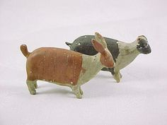 Antique Pair Painted Wood Putz Animals Two Rabbits Noah's Ark Figures |
