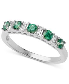 Arabella Sterling Silver Ring, Green and White Swarovski Elements Band (1-1/3 ct. t.w.) - All Fine Jewelry - Jewelry & Watches - Macy's